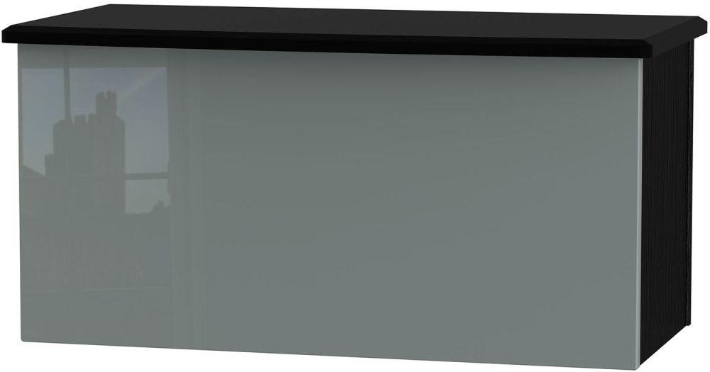 Knightsbridge High Gloss Grey and Black Blanket Box
