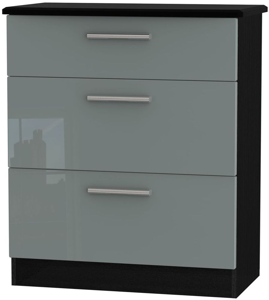 Knightsbridge High Gloss Grey and Black Chest of Drawer - 3 Drawer Deep