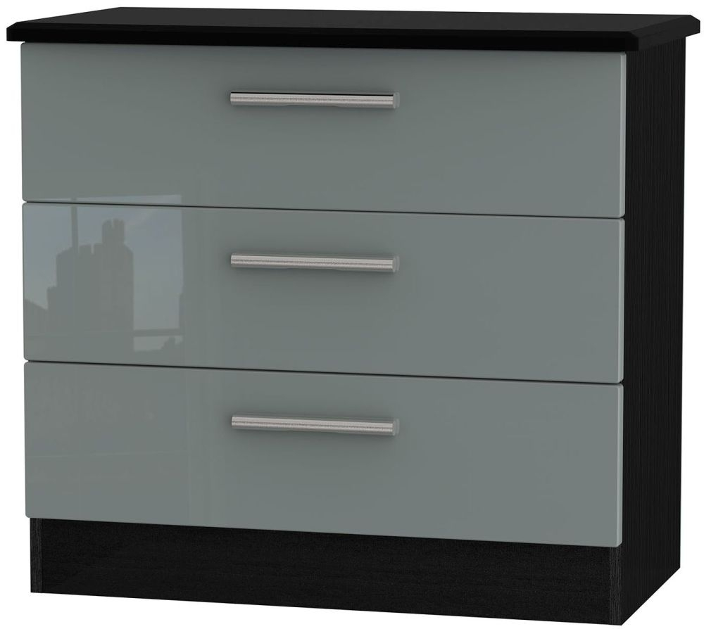 Knightsbridge High Gloss Grey and Black Chest of Drawer - 3 Drawer