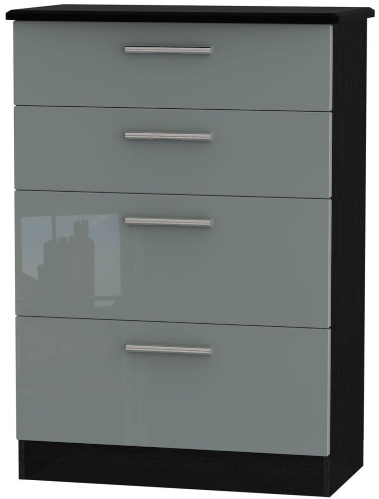 Knightsbridge High Gloss Grey and Black Chest of Drawer - 4 Drawer Deep