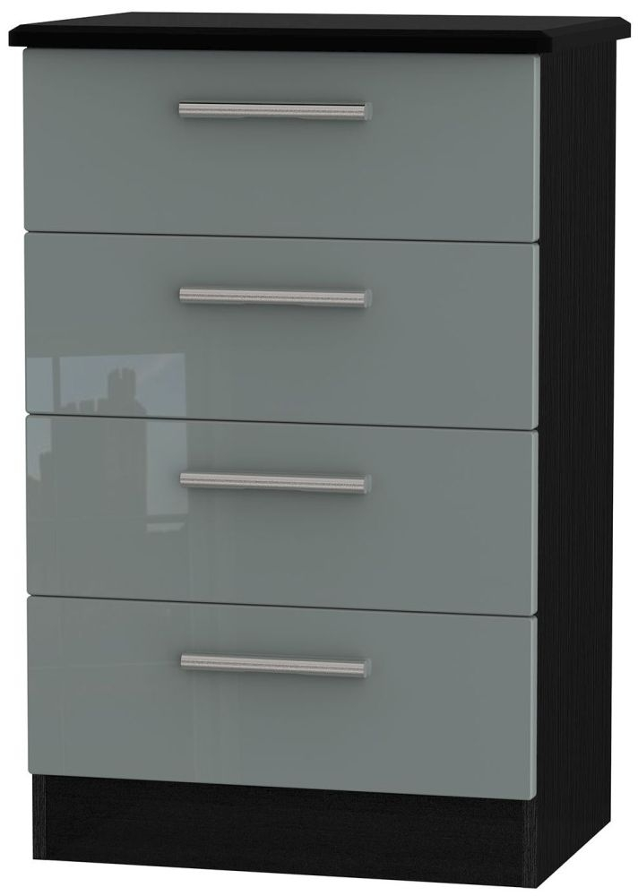 Knightsbridge High Gloss Grey and Black Chest of Drawer - 4 Drawer Midi