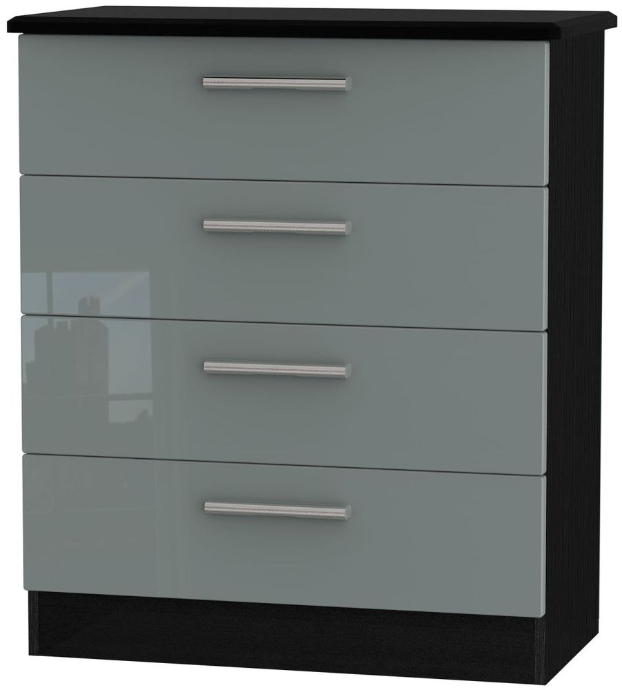 Knightsbridge High Gloss Grey and Black Chest of Drawer - 4 Drawer