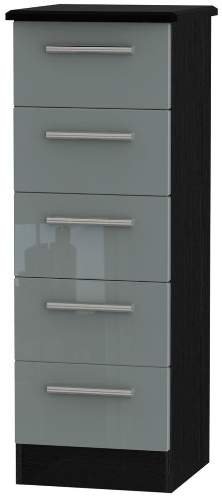 Knightsbridge High Gloss Grey and Black Chest of Drawer - 5 Drawer Locker