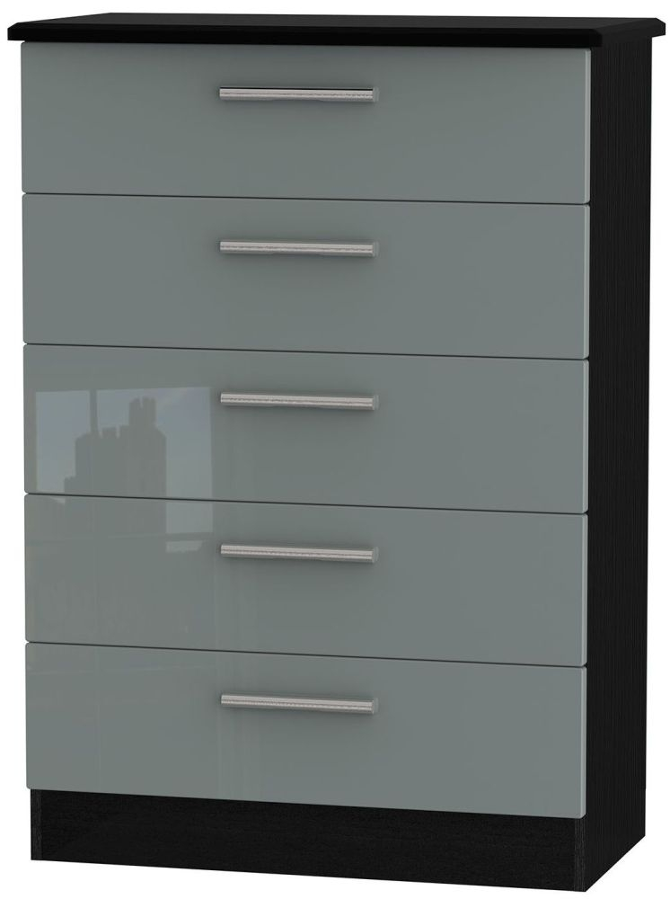 Knightsbridge High Gloss Grey and Black Chest of Drawer - 5 Drawer