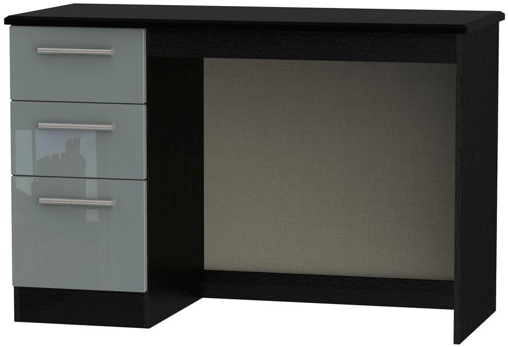 Knightsbridge High Gloss Grey and Black Desk - 3 Drawer