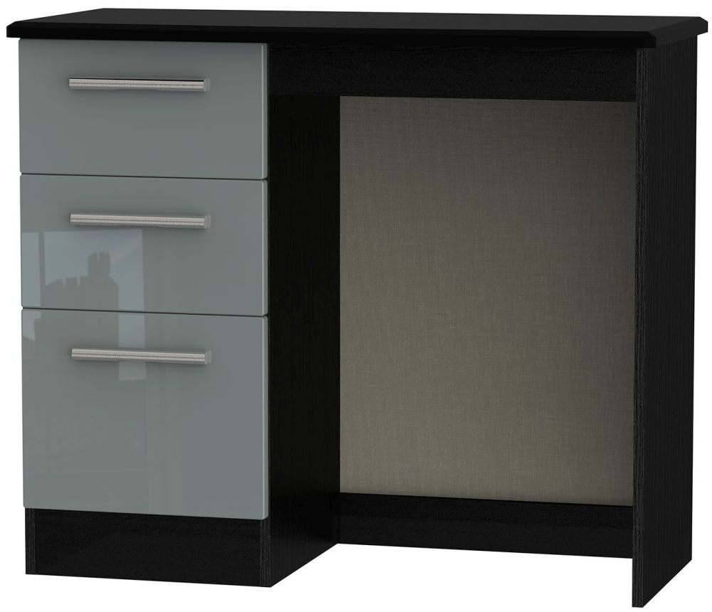 Knightsbridge High Gloss Grey and Black Dressing Table - Vanity Knee Hole