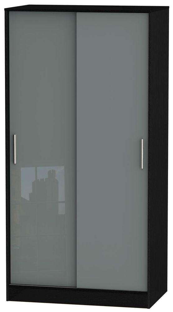 Knightsbridge High Gloss Grey and Black Sliding Wardrobe - Wide