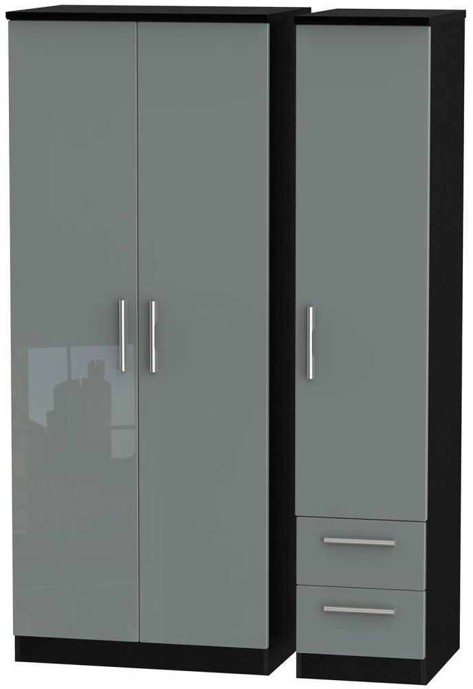 Knightsbridge High Gloss Grey and Black Triple Wardrobe - Plain with 2 Drawer