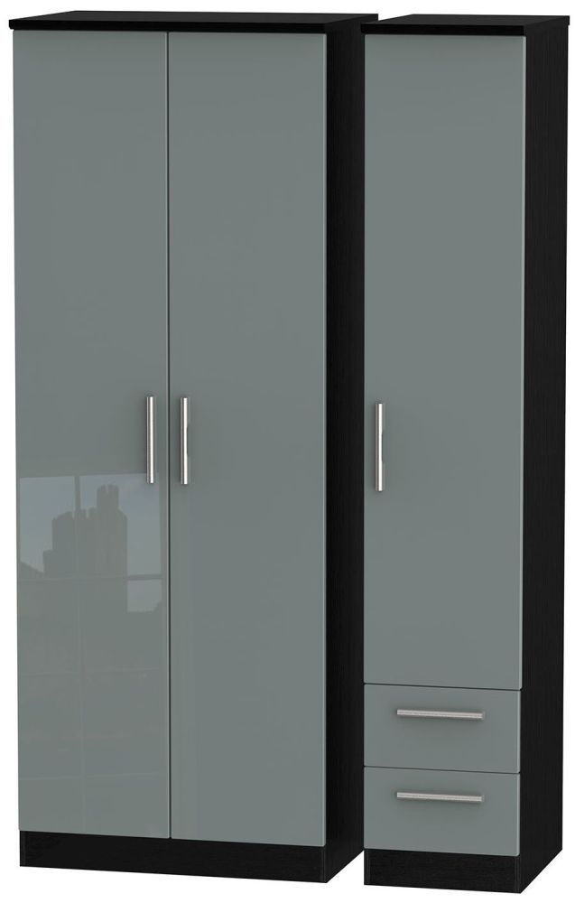 Knightsbridge High Gloss Grey and Black Triple Wardrobe - Tall Plain with 2 Drawer