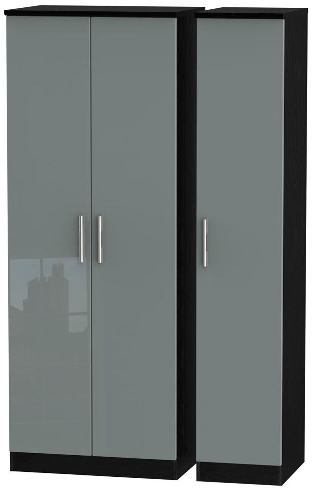 Knightsbridge High Gloss Grey and Black Triple Wardrobe - Tall Plain