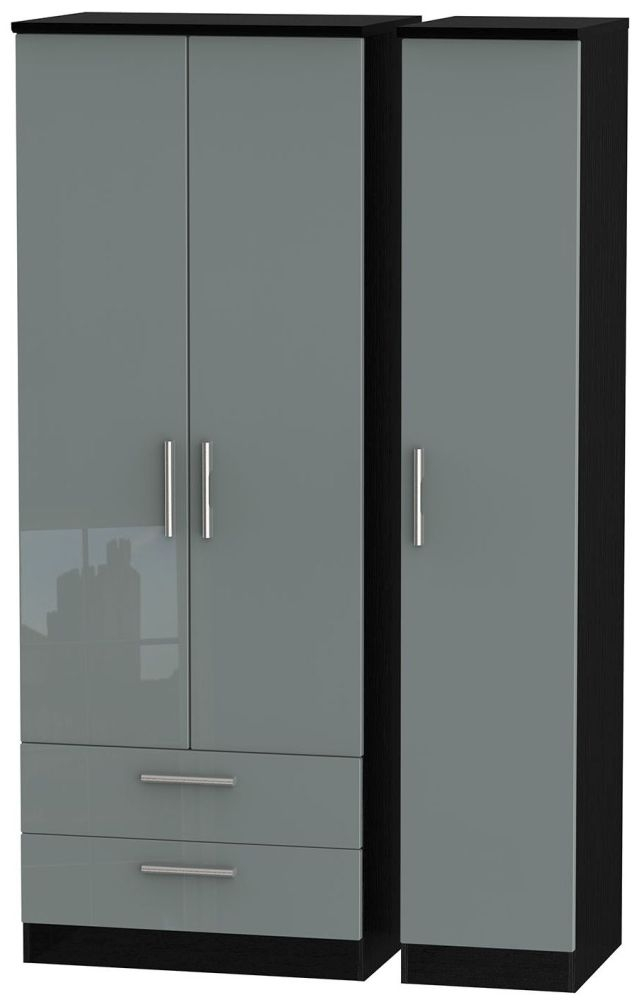 Knightsbridge High Gloss Grey and Black Triple Wardrobe - Tall with 2 Drawer