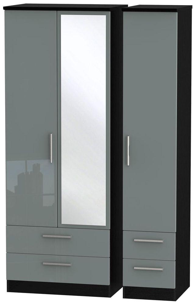 Knightsbridge High Gloss Grey and Black 3 Door 4 Drawer Tall Mirror Triple Wardrobe