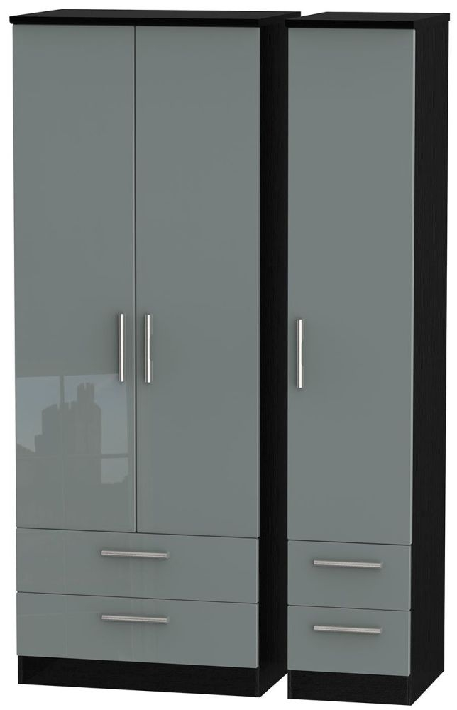 Knightsbridge High Gloss Grey and Black Triple Wardrobe - Tall with Drawer