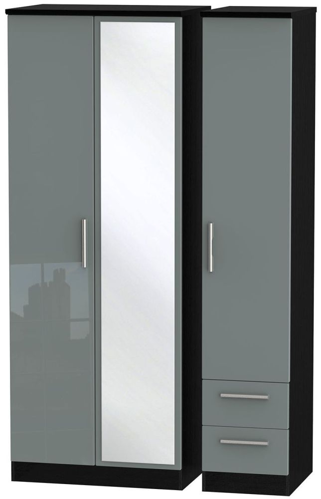 Knightsbridge High Gloss Grey and Black Triple Wardrobe - Tall with Mirror and 2 Drawer