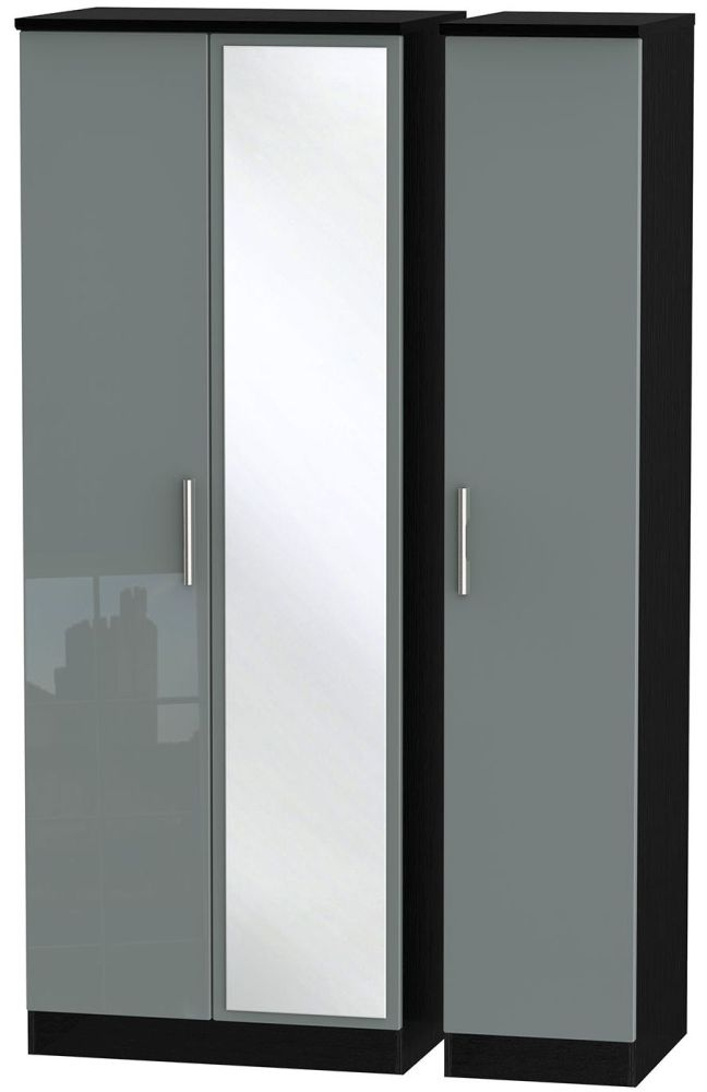 Knightsbridge High Gloss Grey and Black Triple Wardrobe - Tall with Mirror