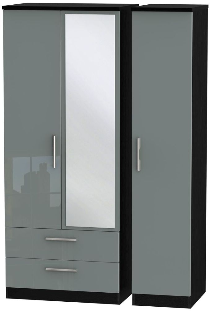 Knightsbridge High Gloss Grey and Black Triple Wardrobe with 2 Drawer and Mirror