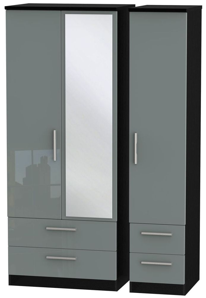Knightsbridge High Gloss Grey and Black Triple Wardrobe with Drawer and Mirror