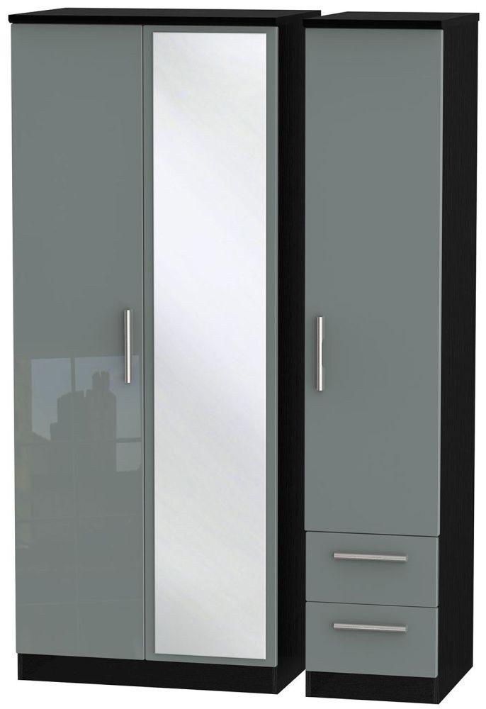 Knightsbridge High Gloss Grey and Black Triple Wardrobe with Mirror and 2 Drawer