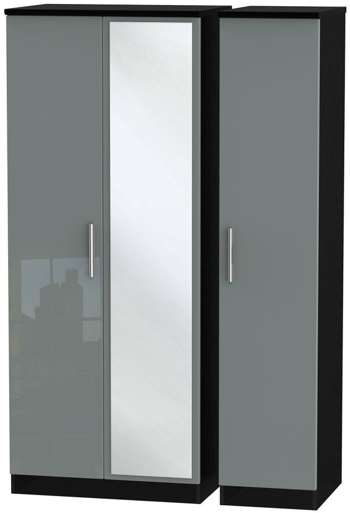 Knightsbridge High Gloss Grey and Black Triple Wardrobe with Mirror