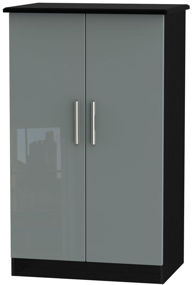 Knightsbridge High Gloss Grey and Black Wardrobe - 2ft 6in Plain Midi