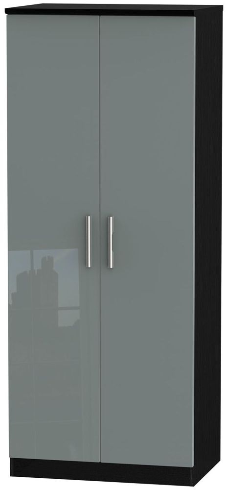 Knightsbridge High Gloss Grey and Black Wardrobe - 2ft 6in Plain