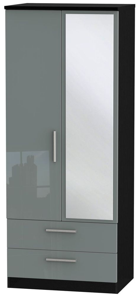 Knightsbridge High Gloss Grey and Black Wardrobe - 2ft 6in with 2 Drawer and Mirror