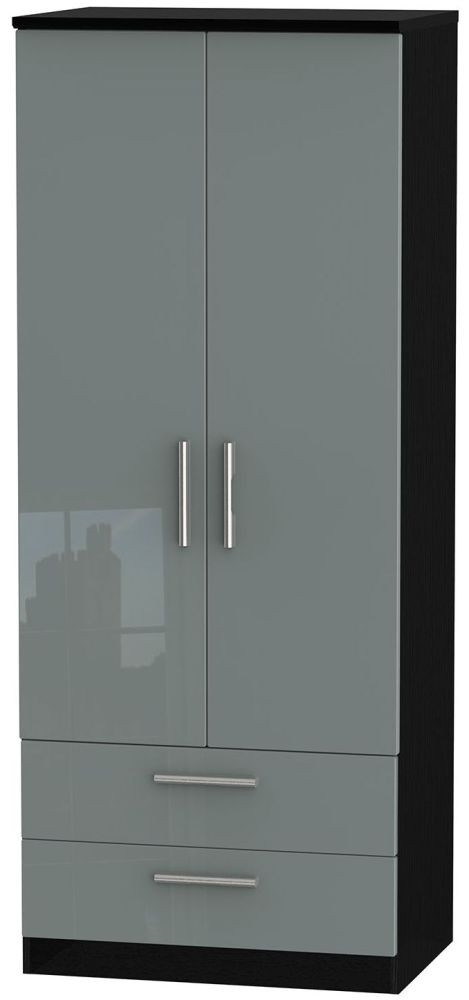 Knightsbridge High Gloss Grey and Black Wardrobe - 2ft 6in with 2 Drawer