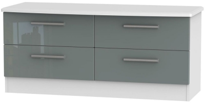 Knightsbridge High Gloss Grey and White Bed Box - 4 Drawer