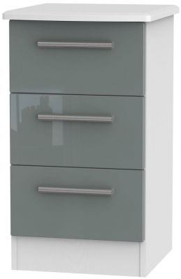 Knightsbridge High Gloss Grey and White Bedside Cabinet - 3 Drawer Locker