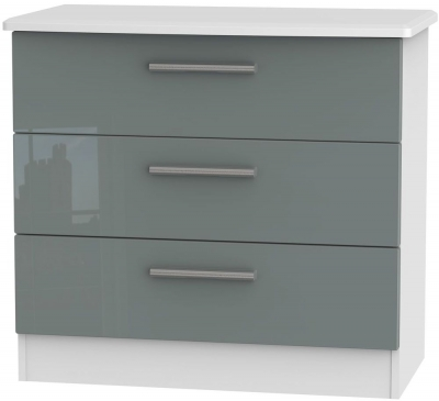 Knightsbridge High Gloss Grey and White Chest of Drawer - 3 Drawer