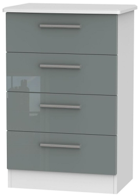 Knightsbridge High Gloss Grey and White Chest of Drawer - 4 Drawer Midi