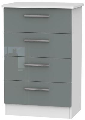 Knightsbridge 4 Drawer Midi Chest - High Gloss Grey and White