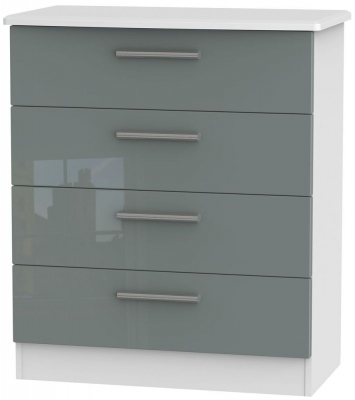 Knightsbridge High Gloss Grey and White Chest of Drawer - 4 Drawer