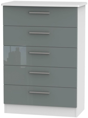 Knightsbridge High Gloss Grey and White Chest of Drawer - 5 Drawer