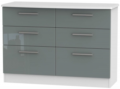 Knightsbridge 6 Drawer Midi Chest - High Gloss Grey and White