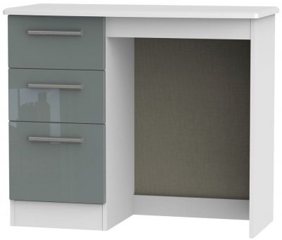 Knightsbridge High Gloss Grey and White Dressing Table - Vanity Knee Hole