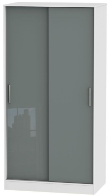Knightsbridge 2 Door Sliding Wardrobe - High Gloss Grey and White