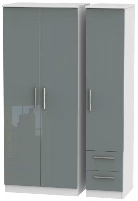 Knightsbridge 3 Door 2 Right Drawer Wardrobe - High Gloss Grey and White