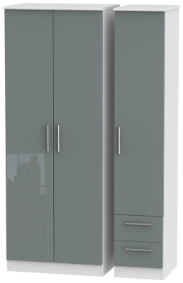 Knightsbridge High Gloss Grey and White Triple Wardrobe - Tall Plain with 2 Drawer