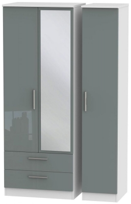 Knightsbridge 3 Door 2 Left Drawer Tall Combi Wardrobe - High Gloss Grey and White