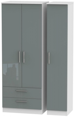 Knightsbridge 3 Door 2 Left Drawer Tall Wardrobe - High Gloss Grey and White