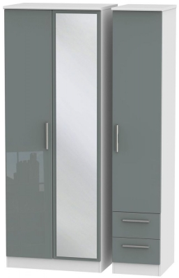 Knightsbridge 3 Door 2 Right Drawer Tall Combi Wardrobe - High Gloss Grey and White