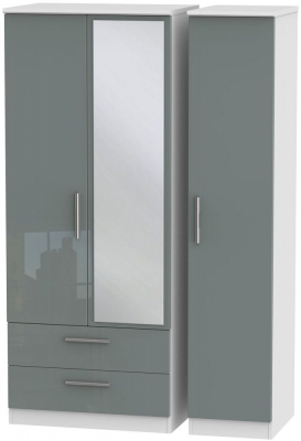 Knightsbridge 3 Door 2 Left Drawer Combi Wardrobe - High Gloss Grey and White
