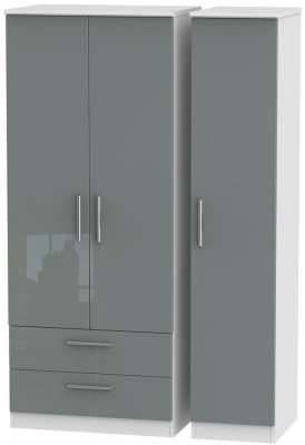 Knightsbridge High Gloss Grey and White Triple Wardrobe with 2 Drawer