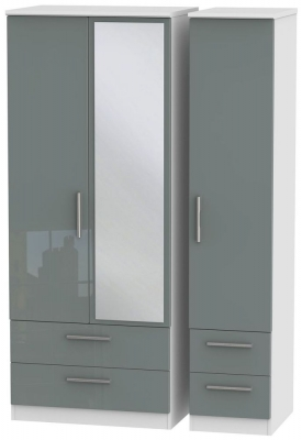 Knightsbridge High Gloss Grey and White Triple Wardrobe with Drawer and Mirror