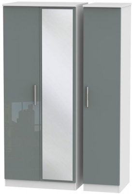 Knightsbridge 3 Door Mirror Wardrobe - High Gloss Grey and White