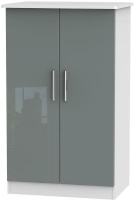 Knightsbridge 2 Door Midi Wardrobe - High Gloss Grey and White
