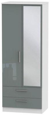 Knightsbridge 2 Door Tall Combi Wardrobe - High Gloss Grey and White