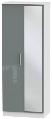Knightsbridge High Gloss Grey and White Wardrobe - Tall 2ft 6in with Mirror