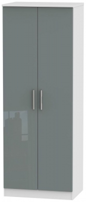 Knightsbridge 2 Door Tall Hanging Wardrobe - High Gloss Grey and White